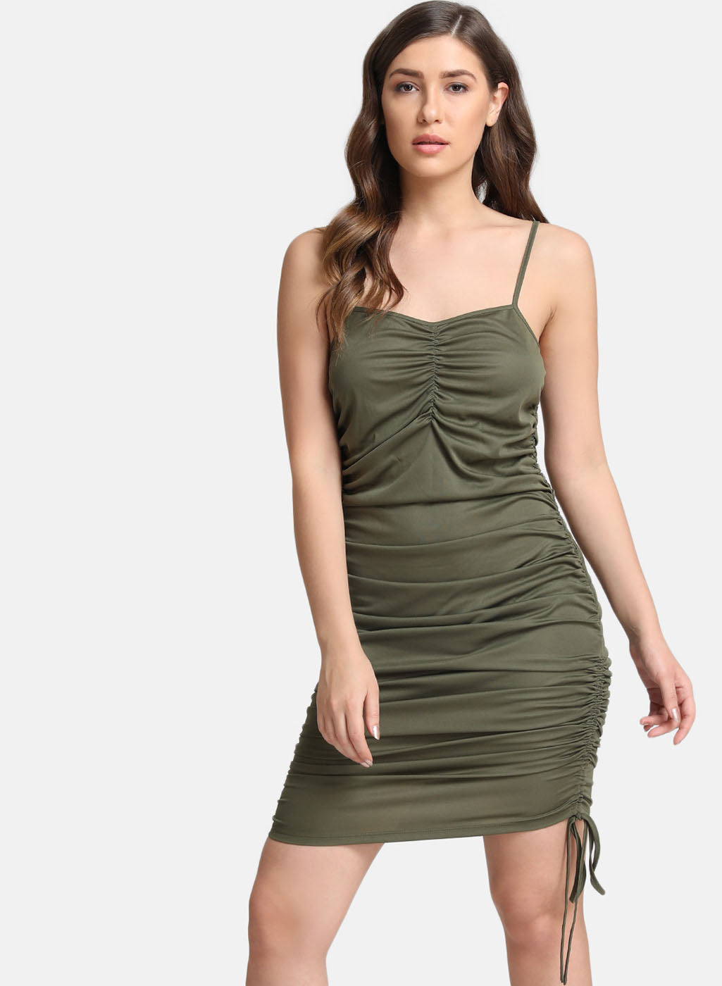 Ruched Fitted Midi Dress