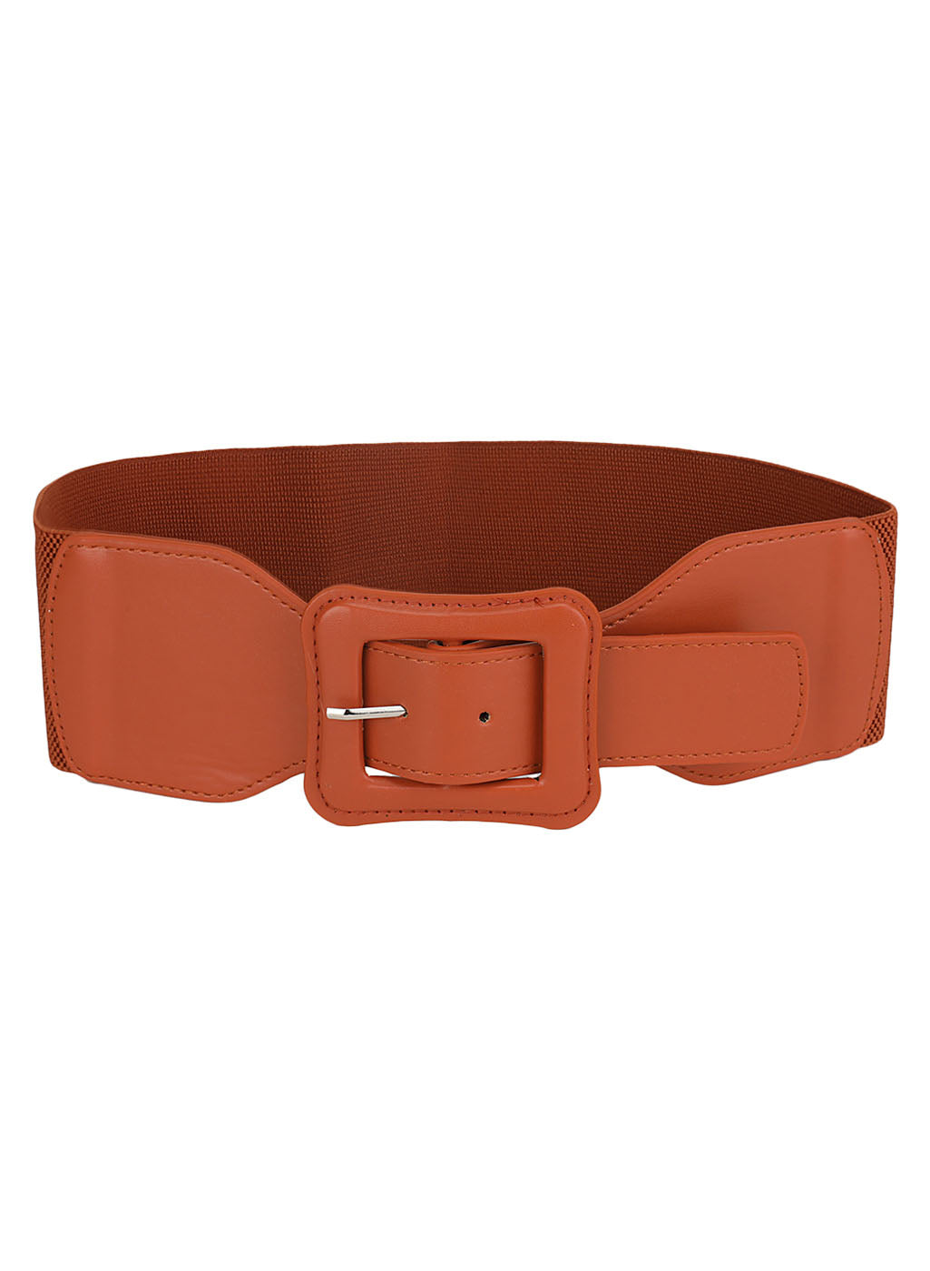 Rectangle Faux Leather Buckle Belt