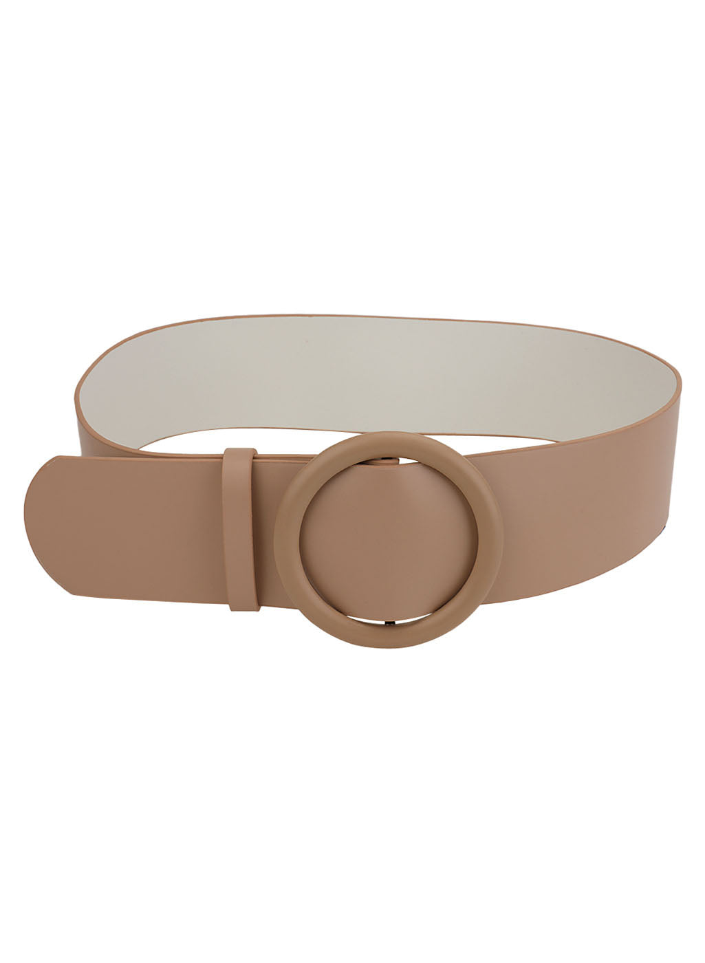 Faux Leather Buckle Broad Belt