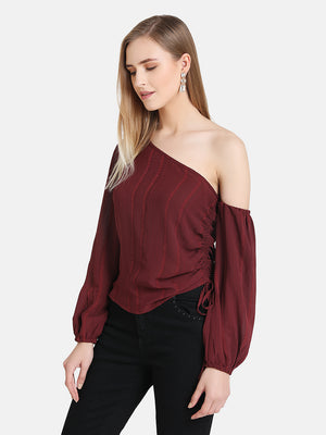 One Shoulder Ruched Detail Top