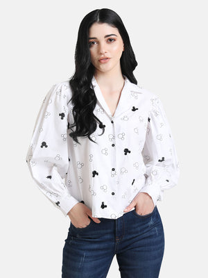 Mickey Mouse Print Sequin Shirt