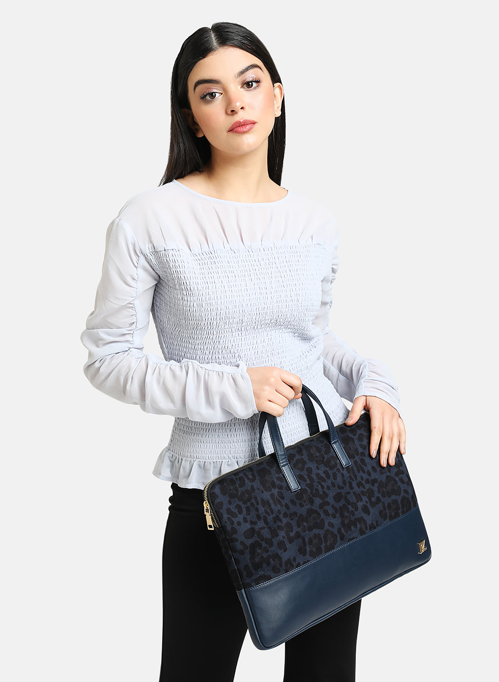 Blue Leopard Print Laptop Bag