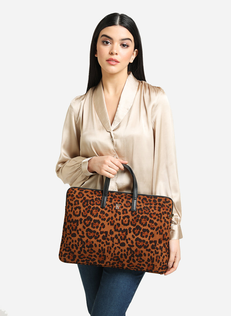 Brown Leopard Print Laptop Bag