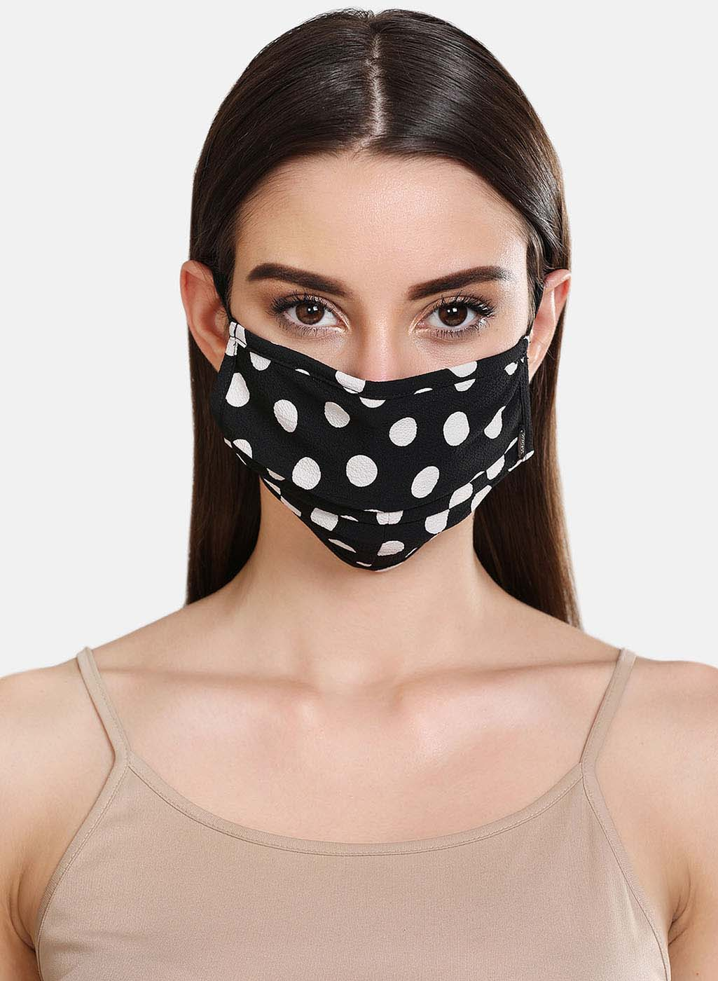 Polka Dot Printed 2 Layer Face Mask With Front Pleats