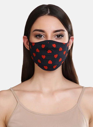 Heart Printed Woven 3 Layer Face Mask