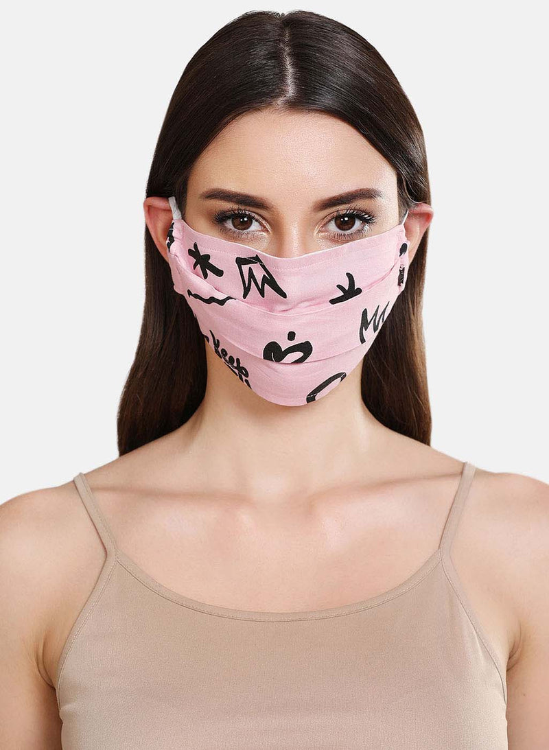 Printed 2 Layer Face Mask With Front Pleats