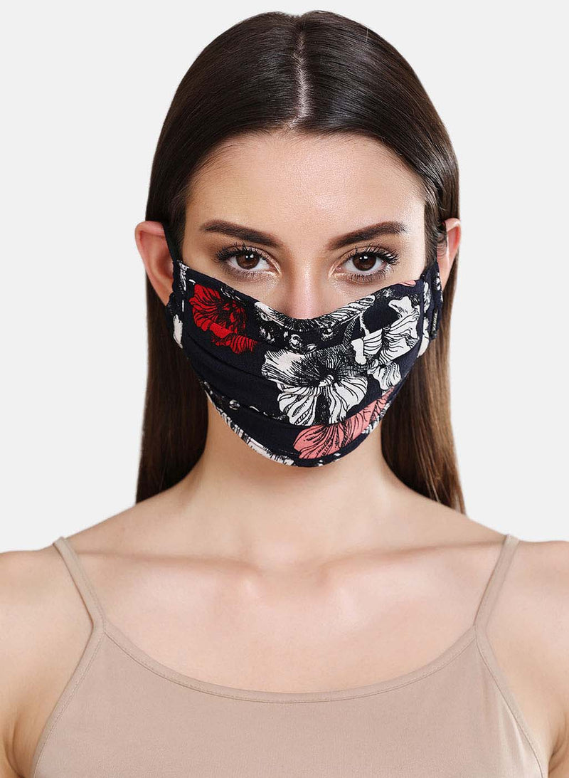Floral Printed 2 Layer Face Mask With Front Pleats Detail