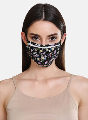 Floral Printed 2 Layer Face Mask With Front Pleats And Lace Detail