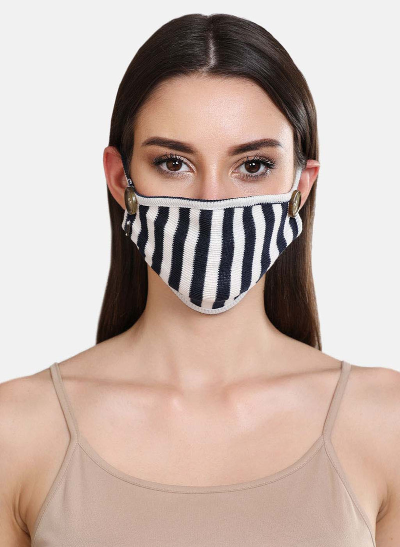Striped Rib 3 Layer Face Mask With Button Detail At Side