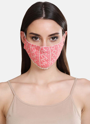 Printed Woven 3 Layer Face Mask With Lace Detail