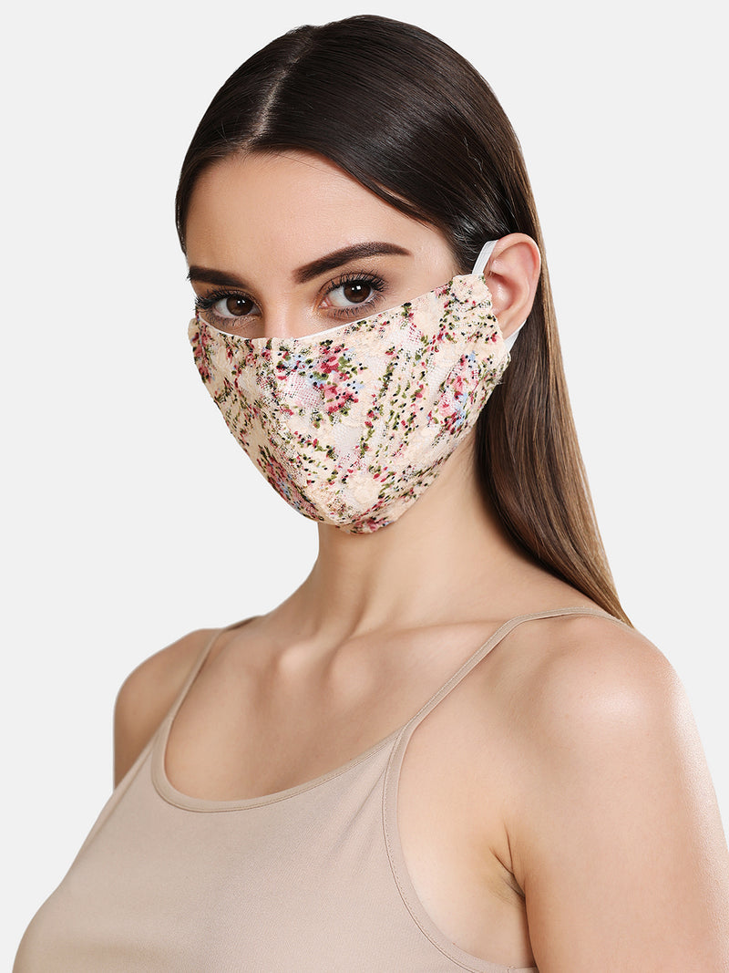 Floral Lace 2 Layer Face Mask
