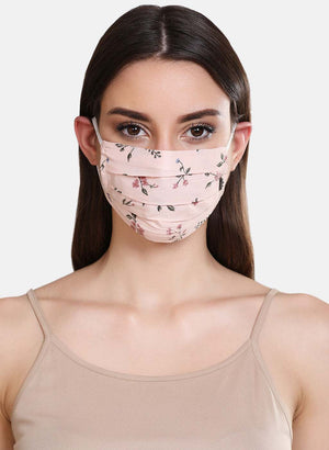 Floral Printed 2 Layer Face Mask With Front Pleats