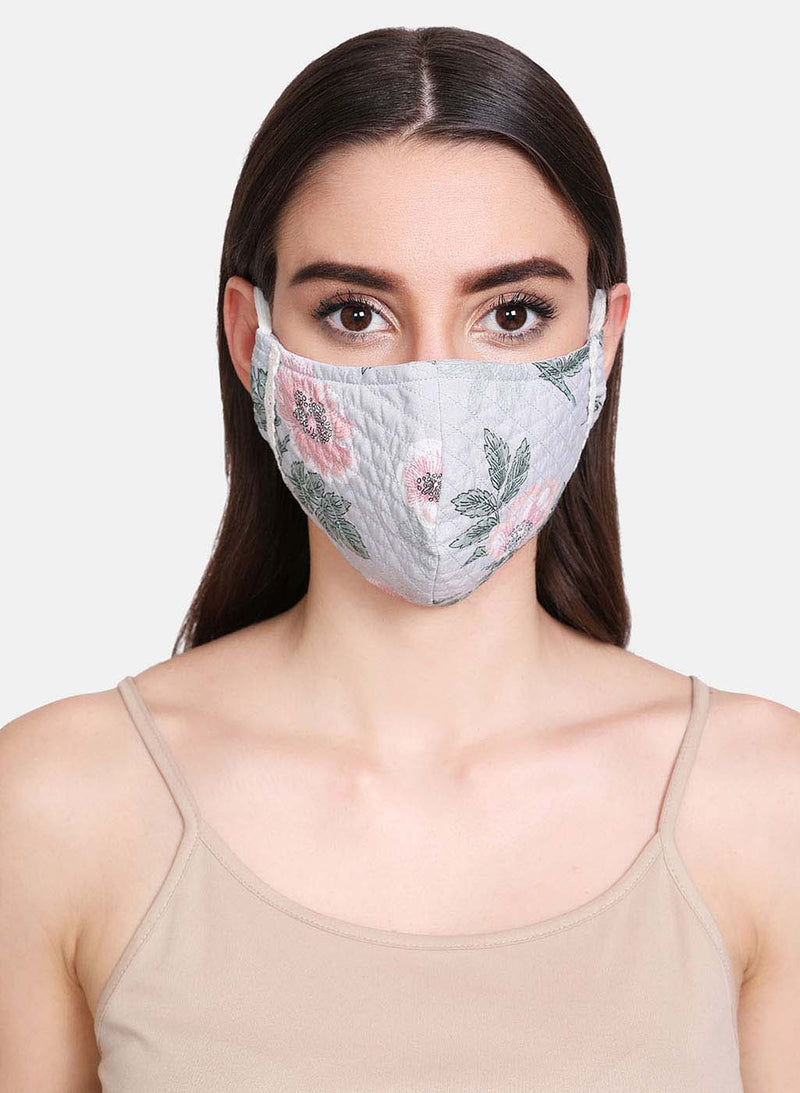 Floral Printed And Quilted 3 Layer Face Mask With Lace Detail At Side