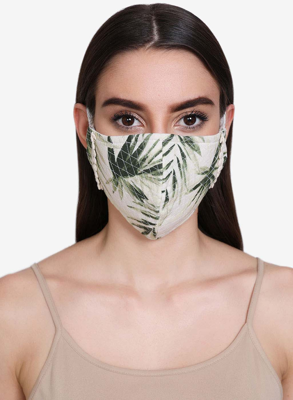 Palm Printed And Quilted 3 Layer Face Mask With Lace Detail At Side