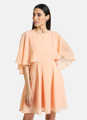 FIT & FLARE MINI DRESS WITH CAPE SLEEVES