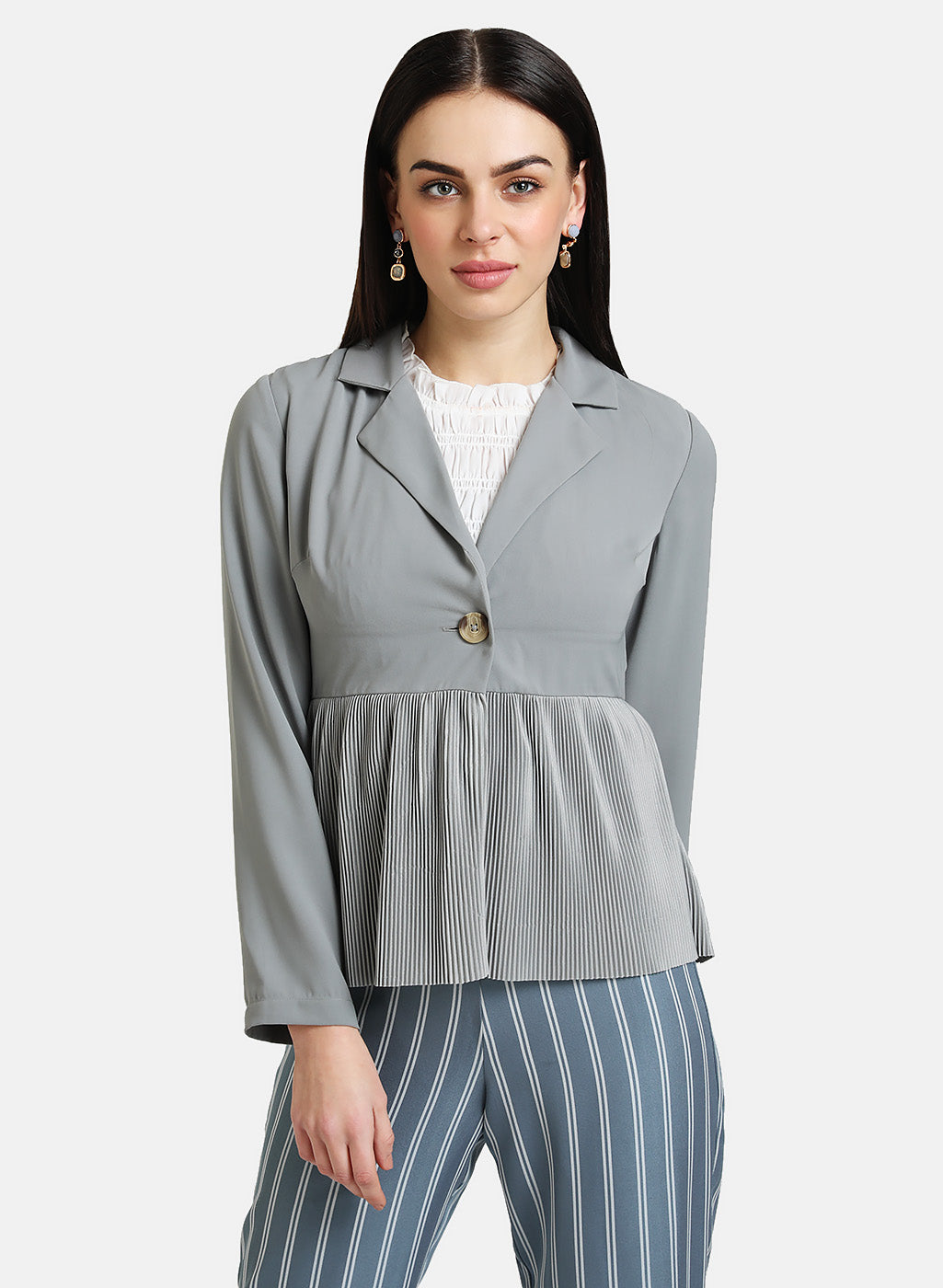 PLEATED PEPLUM BLAZER