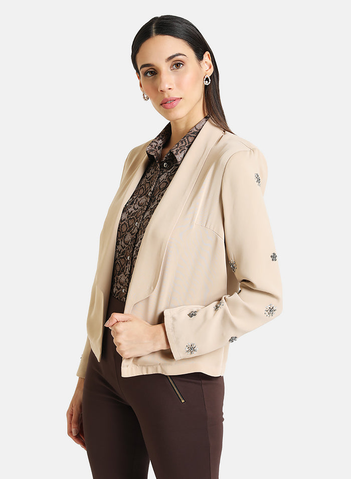 EMBELLISHED SHAWL COLLAR BLAZER