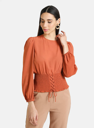 TOP WITH SMOCKING DETAILED