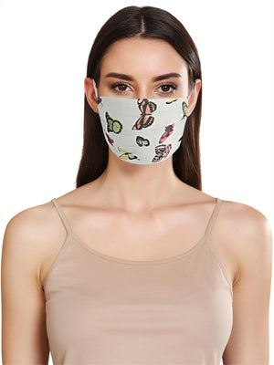 BUTTERFLY PRINT FACE MASK WITH FRONT PLEATS