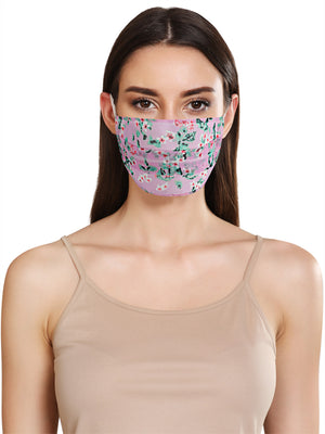 LILAC DITSY PRINT FACE MASK WITH FRONT PLEATS