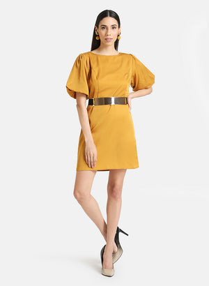 PUFF SLEEVES MINI DRESS WITH BELT DETAIL