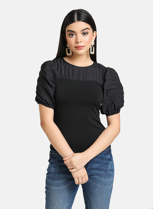TEXTURED PUFF SLEEVES FITTED TOP