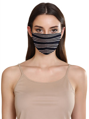 STRIPE RIB LUREX LAYERED FACE MASK