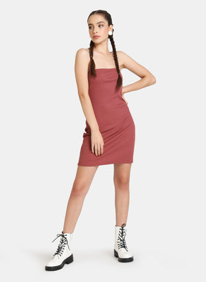 SHORT RIBBED DRESS