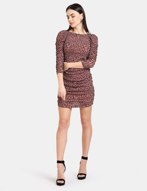 RUCHED ANIMAL FLOCK PRINT MINI DRESS