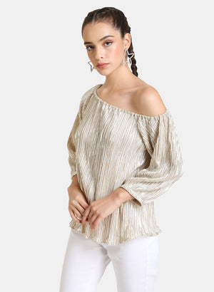 SHINY PLEATED ONE SHOULDER TOP