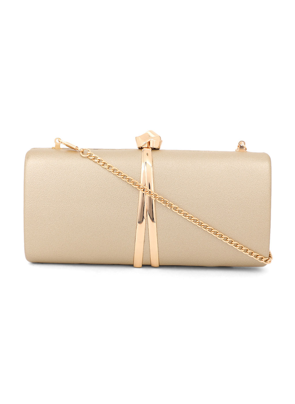 Rectangular Golden Color Clutch