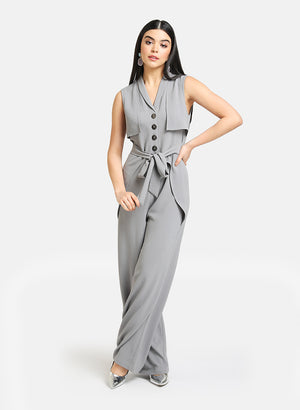 Jumpsuit With Front Tie-Up And Buttons Detail