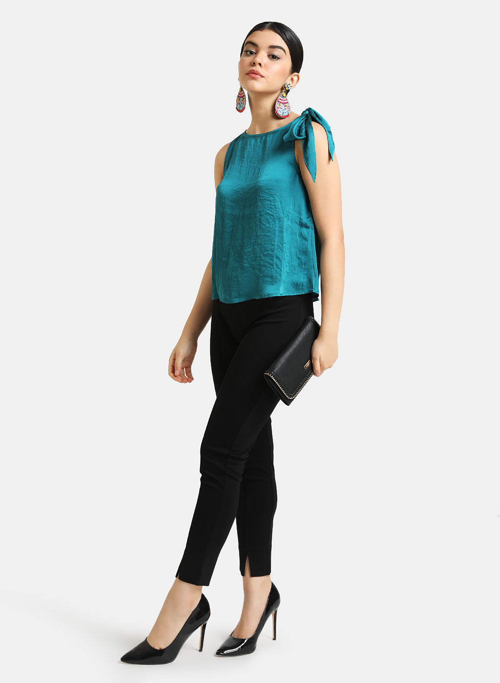 Cowl Neck top with shoulder tieknot