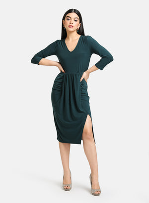 DRAPE DETAILED MIDI DRESS