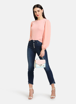 TEXTURED TOP WITH PUFF SLEEVES