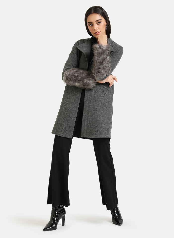 Overcoat With Fur Detailed Sleeve
