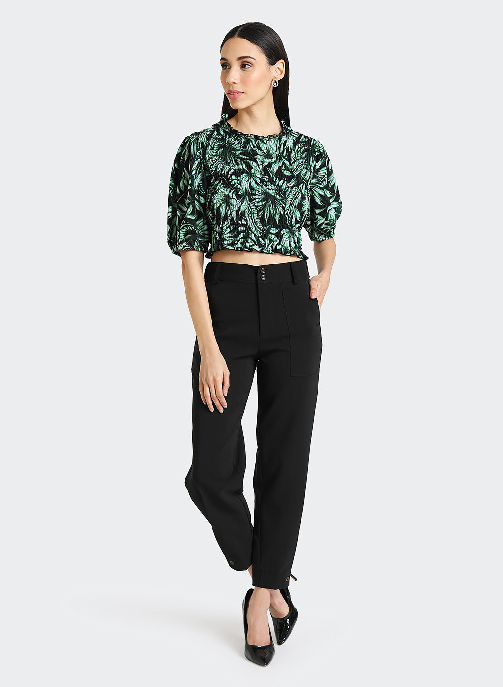 Trouser With Button And Pleat Detail At Hem