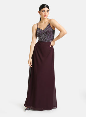 Embellished Maxi Dress With Noodle Straps