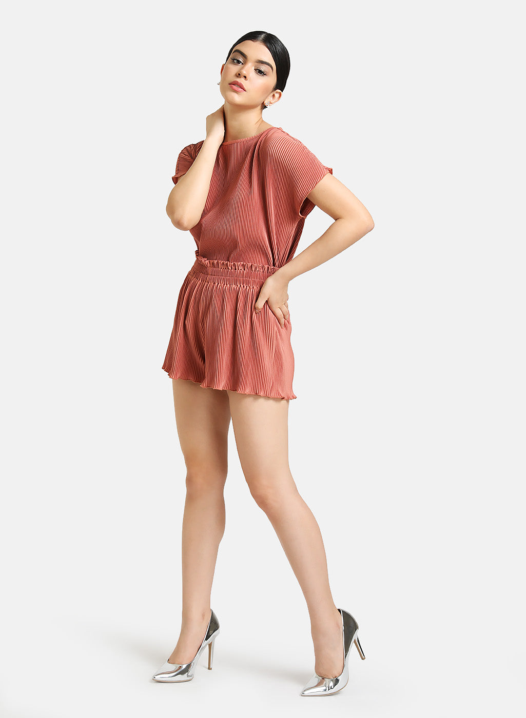 Set of Pleated Top and Shorts.