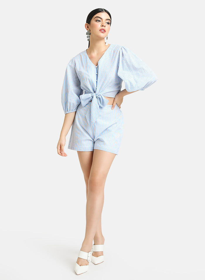 Set of Cotton Stripped Tie Knot Top With Shorts.