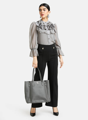 Ruffle Detail Mandarin Collar Shirt
