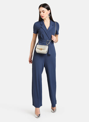 Front Overlap Detail Jumpsuit With Belt