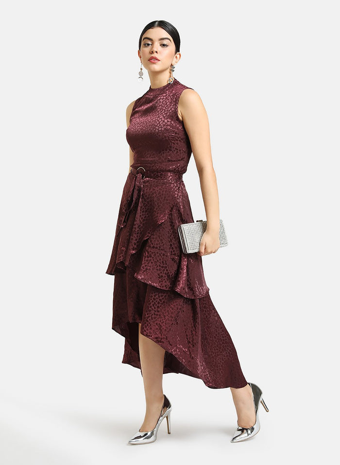 JACQUARD MIDI DRESS WITH TIERS & BELT