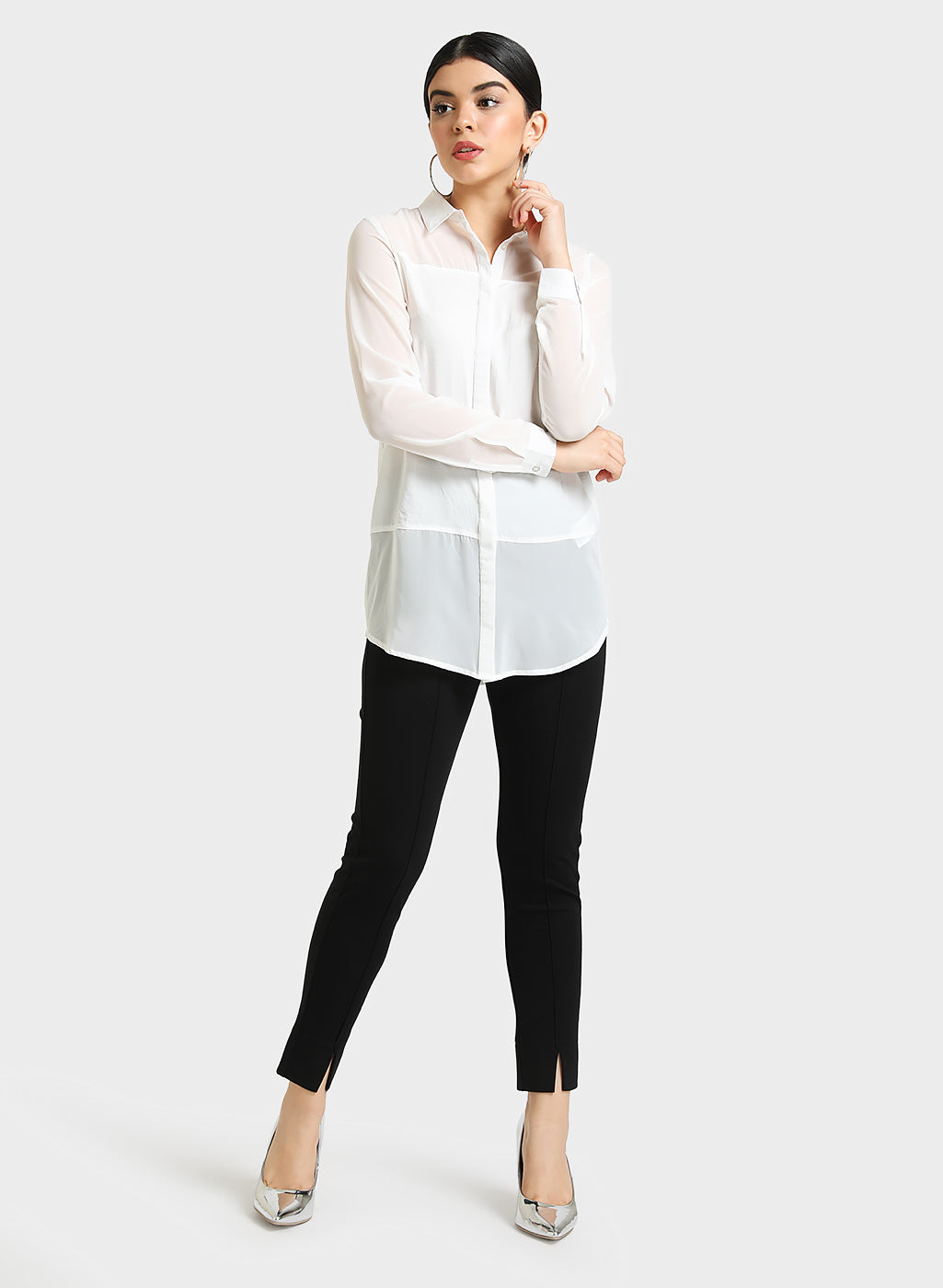 SEMI SHEER FULL SLEEVES SHIRT