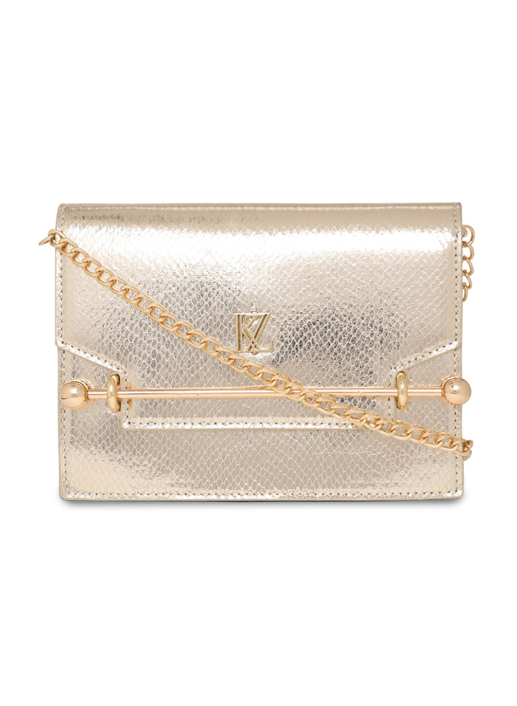 Foiled Faux Leather Clutch