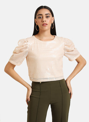 Round Neck Puffed Sleeve Sequin Top