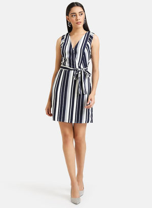 Wrap Striped Mini Dress
