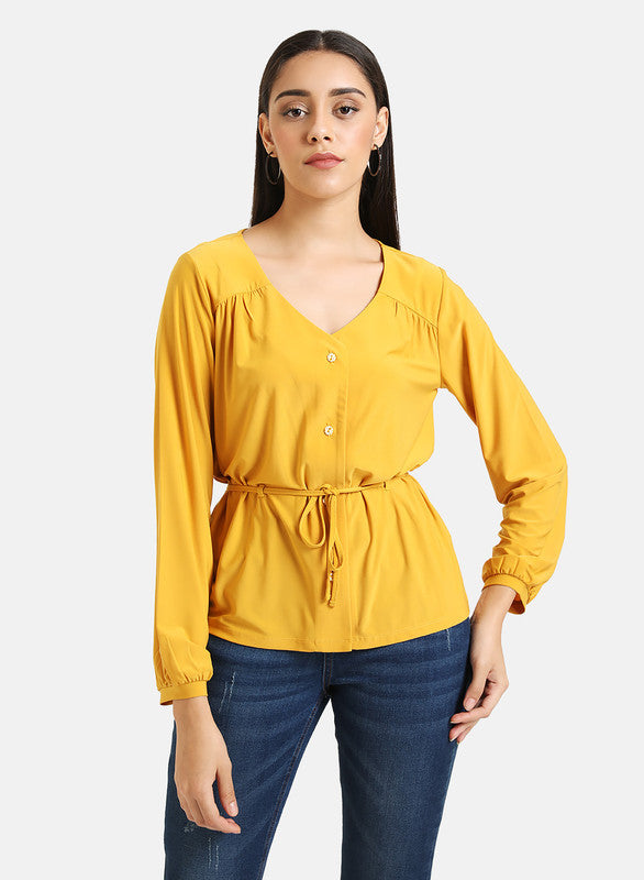 KNITTED DRAWSTRING DETAIL SHIRT