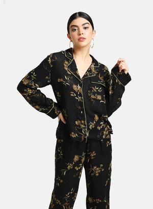 Set of Floral Print Lounge Set With Contrast Piping Detail