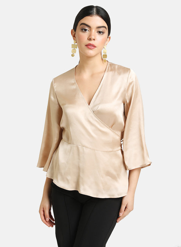 SATIN WRAP TOP WITH PEPLUM
